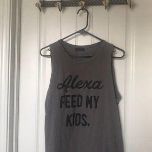 Tops - Alexa feed my kids tank